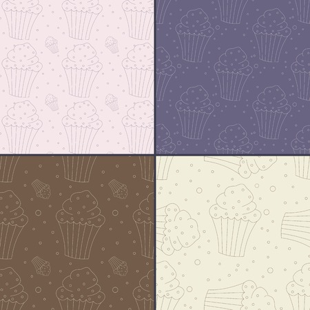 Set of four seamless patterns with cute hand drawn cupcakes. Restaurant or cafe branding elements.