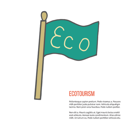 ecotourism: Flag with word Eco. Ecotourism colorful flat design element isolated on a white background.