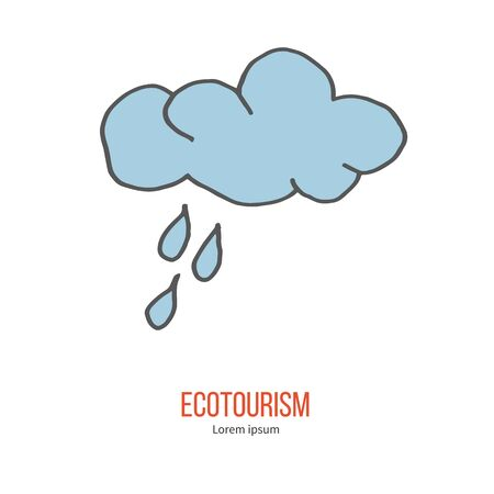 eco tourism: Cloud and rain drops. Ecotourism colorful flat design element isolated on a white background.
