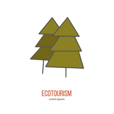 ecotourism: Coniferous tree. Ecotourism colorful flat design element isolated on a white background.