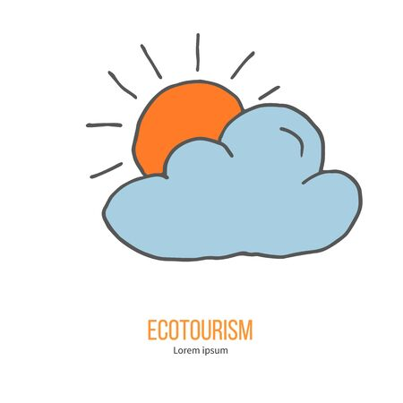 ecotourism: Cloud and sun. Ecotourism colorful flat design element isolated on a white background.