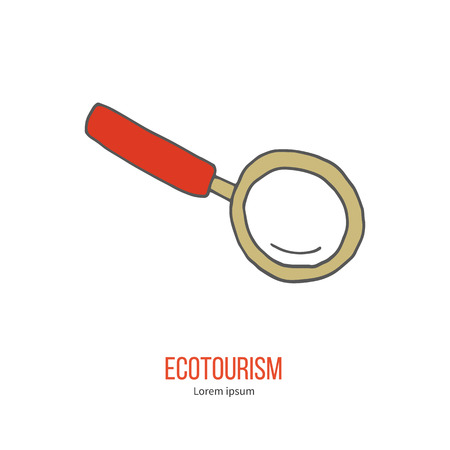 ecotourism: Magnifying glass. Ecotourism colorful flat design element isolated on a white background.