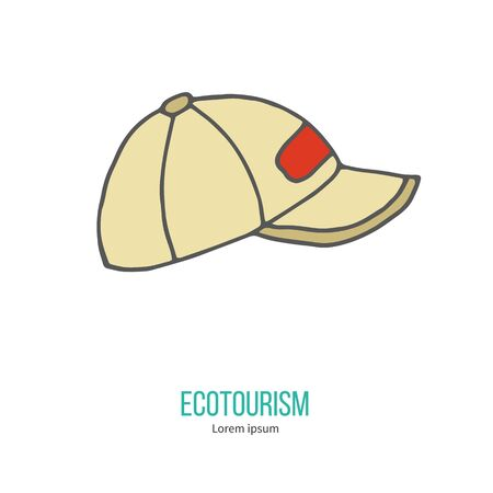 ecotourism: Baseball hat or cup. Ecotourism colorful flat design element isolated on a white background.