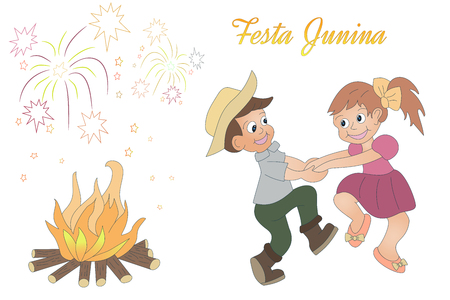 Cute hand drawn dancing children, bonfire and fireworks.