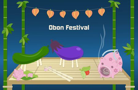 occassion: Japanese summer Bon Festival background with traditional attributes.