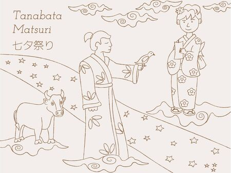 Hand-drawn Milky Way, couple and cow. Japanese folklore. Tanabata legend. utlined art. Illustration