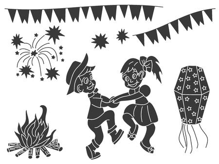 Festa Junina design elements isolated on a white background. Latin American holiday. June party of Brazil. Vektorové ilustrace