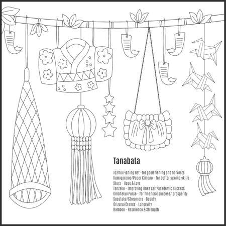 Tanabata hand-drawn symbols: Toami (Fishing Net), KamigoromoPaper Kimono, Stars, Tanzaku (paper strips with wish). Kinchaku (Purse), Sasatake (Streamers), Orizuru (Cranes-origami), Bamboo on white background