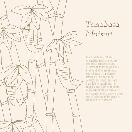 Japanese traditional summer Star Festival, hand-drawn bamboo tree with wishes written on Tanzaku. Tanabata Festival written in Japanese.