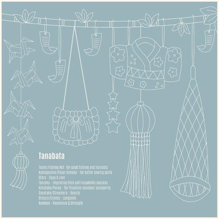 Tanabata hand-drawn symbols: Toami (Fishing Net), KamigoromoPaper Kimono, Stars, Tanzaku (paper strips with wish). Kinchaku (Purse), Sasatake (Streamers), Orizuru (Cranes-origami), Bamboo. Illustration