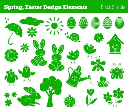 bugs bunny: Set of hand drawn graphic design elements in modern black simple style isolated on white background. Easter, spring concept. Illustration