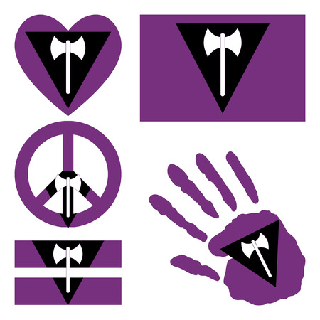 fetishes: pride flag, heart, pacific sign, equality symbol and hand print for you design.