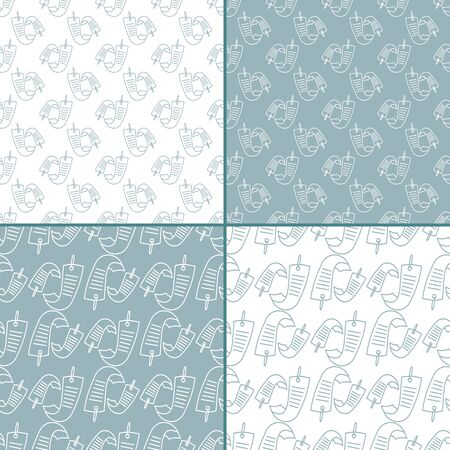 Set of four seamless patterns with with hand-drawn Star Festival  Tanabata Matsuri elements. Illustration