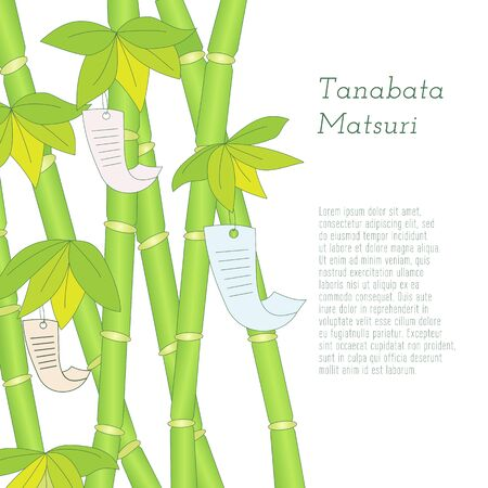 Japanese traditional summer Star Festival, Tanabata Matsuri hand-drawn bamboo tree with wishes written on Tanzaku. Elements on white background. Tanabata Festival written in Japanese.