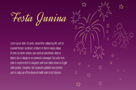 night time: Festa Junina elements on blurred, night time background. Illustration