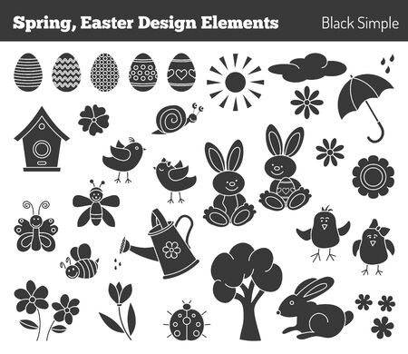 silhouette maison: Ensemble d'éléments de conception graphique dessinés à la main en style noir simple moderne isolé sur fond blanc. Pâques, concept de printemps. Illustration