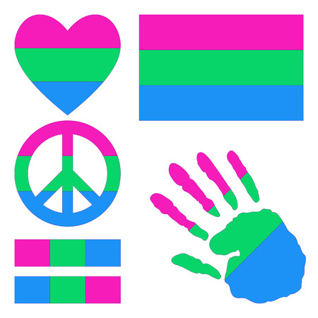 Polysexual pride flag, heart, pacific sign, equality symbol and hand print for you design. Collection of gay culture symbols.