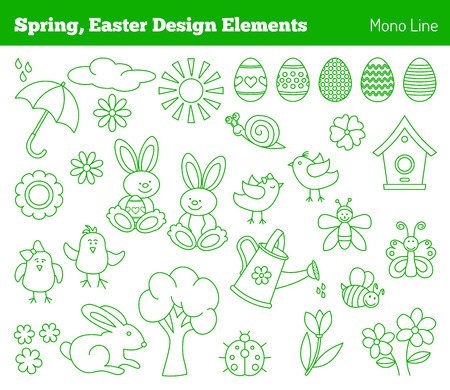 bugs bunny: Set of hand drawn graphic design elements in modern mono line style isolated on white background. Easter, spring concept.