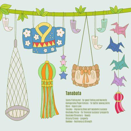 Tanabata hand-drawn symbols: Toami (Fishing Net), KamigoromoPaper Kimono, Stars, Tanzaku (paper strips with wish). Kinchaku (Purse), Sasatake (Streamers), Orizuru (Cranes-origami), Bamboo. Ilustração
