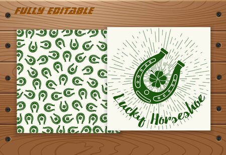 Saint Patricks Day poster with sunbursts on wood plank board with screws. Illustration
