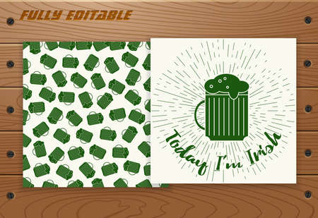 Saint Patricks Day poster with sunbursts on wood plank board with screws. Modern two sided card, banner, badge, sticker, coupon, voucher, label template. Typographic  design. Stock Illustratie