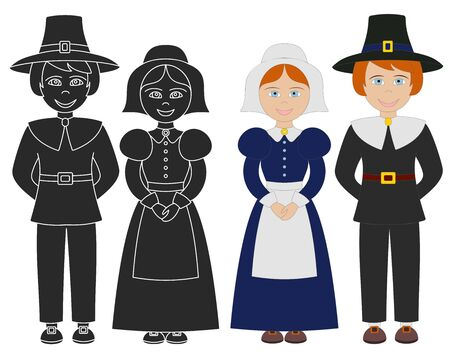 Hand drawn Pilgrim boy and girl. Thanksgiving isolated graphic elements on white background. Flat color design and black silhouette icons.