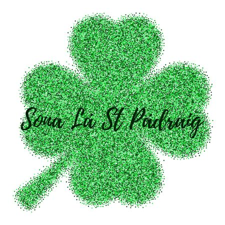 St. Patricks Day card, banner with green confetti glitter isolated on white. Template with four leaf clover. Happy St. Patricks Day written in Irish, Gaelic. Easy to use and edit.