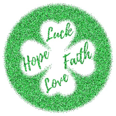 17: St. Patricks Day card, banner or flyer with green confetti glitter isolated on white. Template with four leaf clover. Easy to use and edit. Illustration