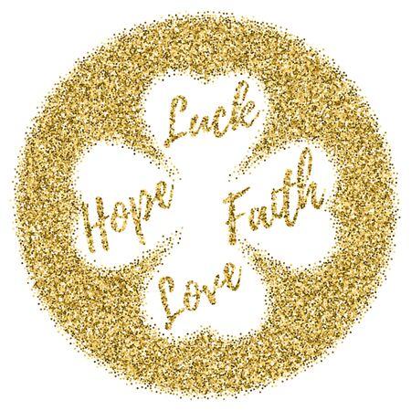 St. Patricks Day Karte, Banner mit Glitter Gold Konfetti isoliert auf weiß. Vorlage mit vier Kleeblatt. Vektorgrafik