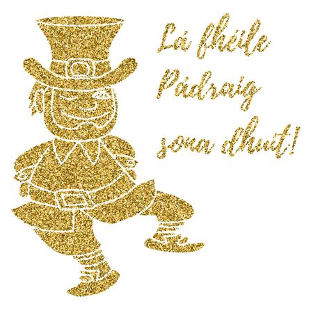 St. Patricks Day card, banner with gold confetti glitter isolated on white. Template with a dancing Leprechaun. Happy St. Patricks Day written in Irish, Gaelic. Easy to use and edit. Vectores