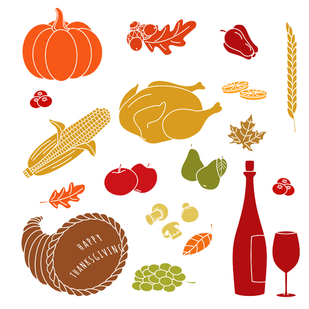 grapes and mushrooms: Set of hand drawn Thanksgiving colorful elements on white background. Mushrooms, lemon, apple, turkey, leaf, corn on the cob, pepper, pear, cranberries, grapes, cornucopia, wine, wine glass.