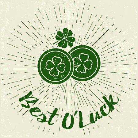 Saint Patricks Day card, poster on grunge background with sun burst. Typographic  design. Perfect for advertising, poster, announcement, invitation, party, greeting card, festival, parade.