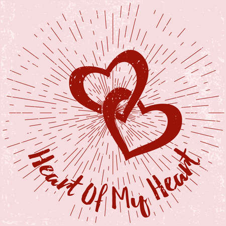 heart damage: Valentines Day card, poster on grunge background with sun burst. Typographic  design. Perfect for advertising, poster, announcement, invitation, party, greeting card, festival, parade.