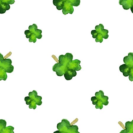 Watercolor seamless pattern with four leaf clover.