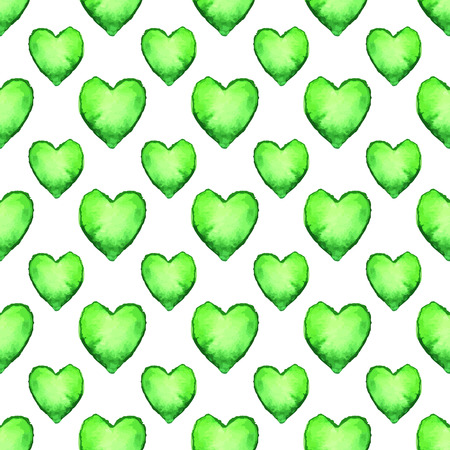 Watercolor seamless pattern with heart shapes. 矢量图像