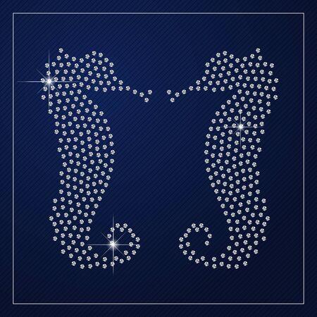 glamorous couple: Shimmering diamond luxury seahorses.