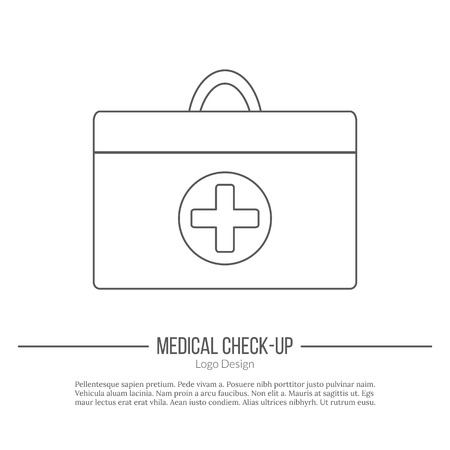 medical evaluation: Doctor bag with medical cross in circle.
