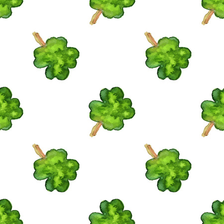 four leaf: Watercolor seamless pattern with four leaf clover.