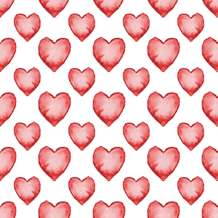 traced: Red watercolor heart shape seamless pattern