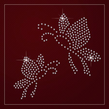 Shimmering diamond luxury butterflies. Mother and child. Glamour design element.elegant style design.