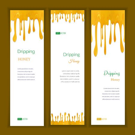 Set of three vertical banners with abstract seamless dripping honey and shadow, isolated on white background. Place for your text. Modern style graphic design template. Marketing concept.
