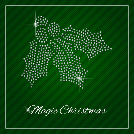 Christmas greeting card or poster. Shimmering diamond luxury Holly. Template with a glamour design element and a place for your text. Each element is isolated, easy to use in your own design.