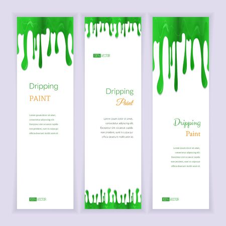 Set of three vertical banners with abstract seamless dripping green paint and shadow, isolated on white background. Place for your text. Modern style graphic design template. Marketing concept.