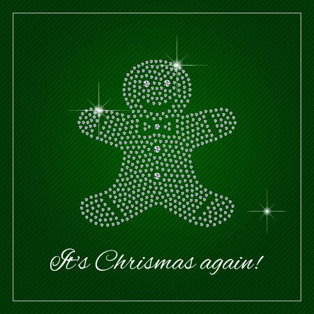 Christmas greeting card or poster. Shimmering diamond luxury gingerbread man. Template with a glamour design element and a place for your text. Each element is isolated, easy to use in your own design