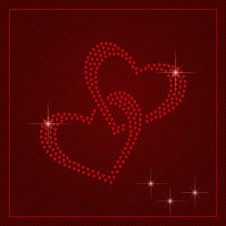glamorous couple: Valentines Day card or poster. Shimmering diamond luxury cute two connected hearts. Template with a glamour design element and a place for your text. Easy to use in your own design. Illustration