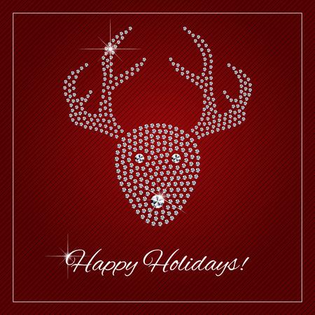 クリスマス グリーティング カード、ポスター。きらめくダイヤモンド高級 Rednosed トナカイ。魅力のデザイン要素とテキストの場所を持つテンプレ