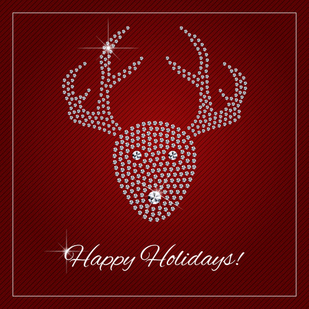 rudolf: Christmas greeting card, poster. Shimmering diamond luxury Rednosed Reindeer. Template with a glamour design element and a place for your text. Each element is isolated, easy to use in your own design