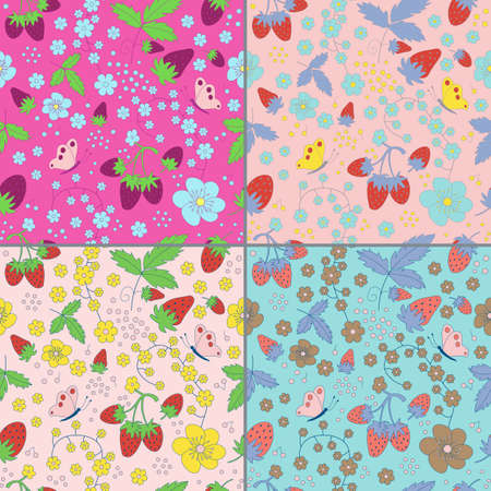wild strawberry: Collection of seamless strawberry patterns with hand drawn strawberries, flowers, leaves and butterfly in different colors. Strawberry festival background. Wild strawberry field. Illustration