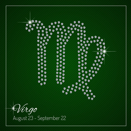 Shimmering diamond luxury Zodiac sign, Virgo. Template with a glamour design element and a place for your text. Isolated high quality concept. Clean, modern and elegant style design.