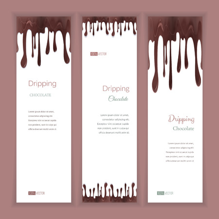 dripping chocolate: Set of three vertical banners with abstract seamless dripping chocolate and shadow, isolated on white background. Place for your text. Modern style graphic design template. Marketing concept. Illustration
